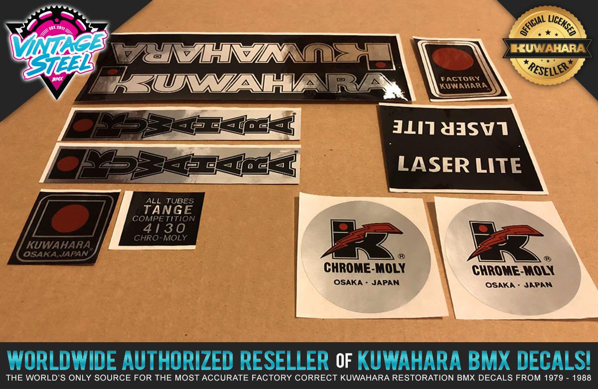 Details about Kuwahara LASERLITE BMX Custom Chrome Frame Decal Stickers -  Version #2 83 - 85
