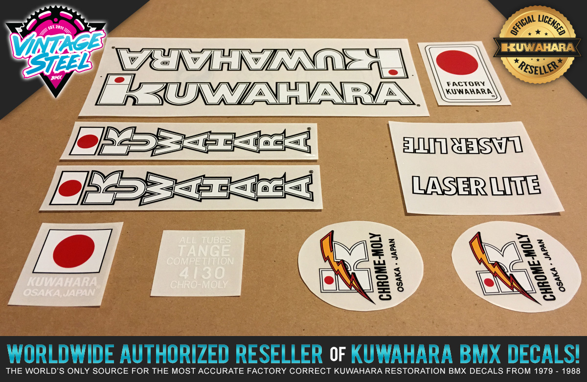 1985 NEW Kuwahara LASERLITE BMX Decal Set All Colors 100/% Factory Correct!