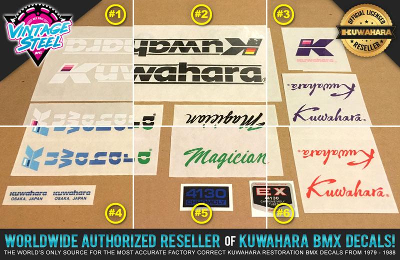 All Colors 100/% Factory Correct Kuwahara MAGICIAN EX BMX Decal Set 1987