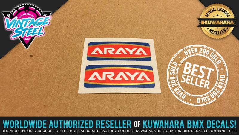 Araya Rim Decals Stickers old school BMX Restoration decals