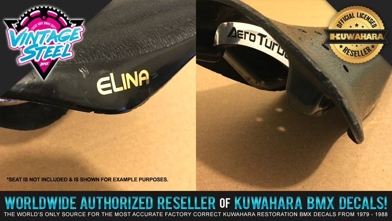 ELINA LIGHTNING BOLT with BMX Seat Side Decals,1 pair of each choice of COLORS