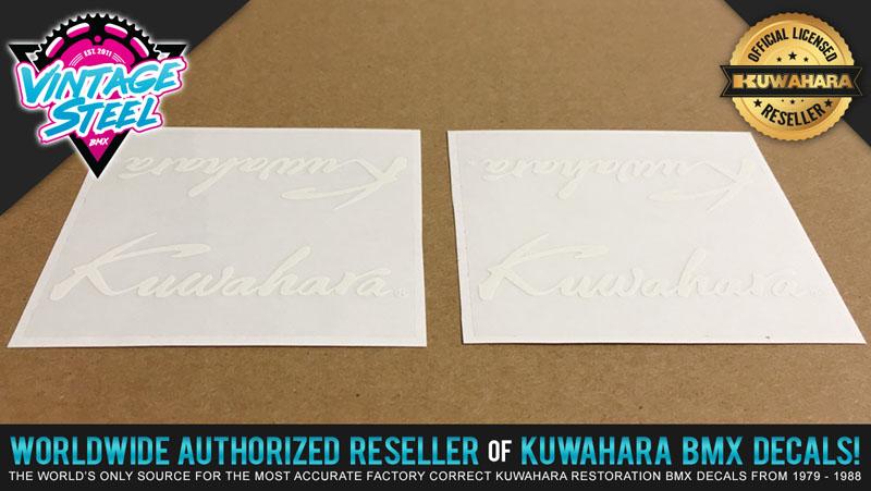 SAVE $5 on 1 PAIR Kuwahara SCRIPT BMX 1985 White Handlebar//Seat Post Decal