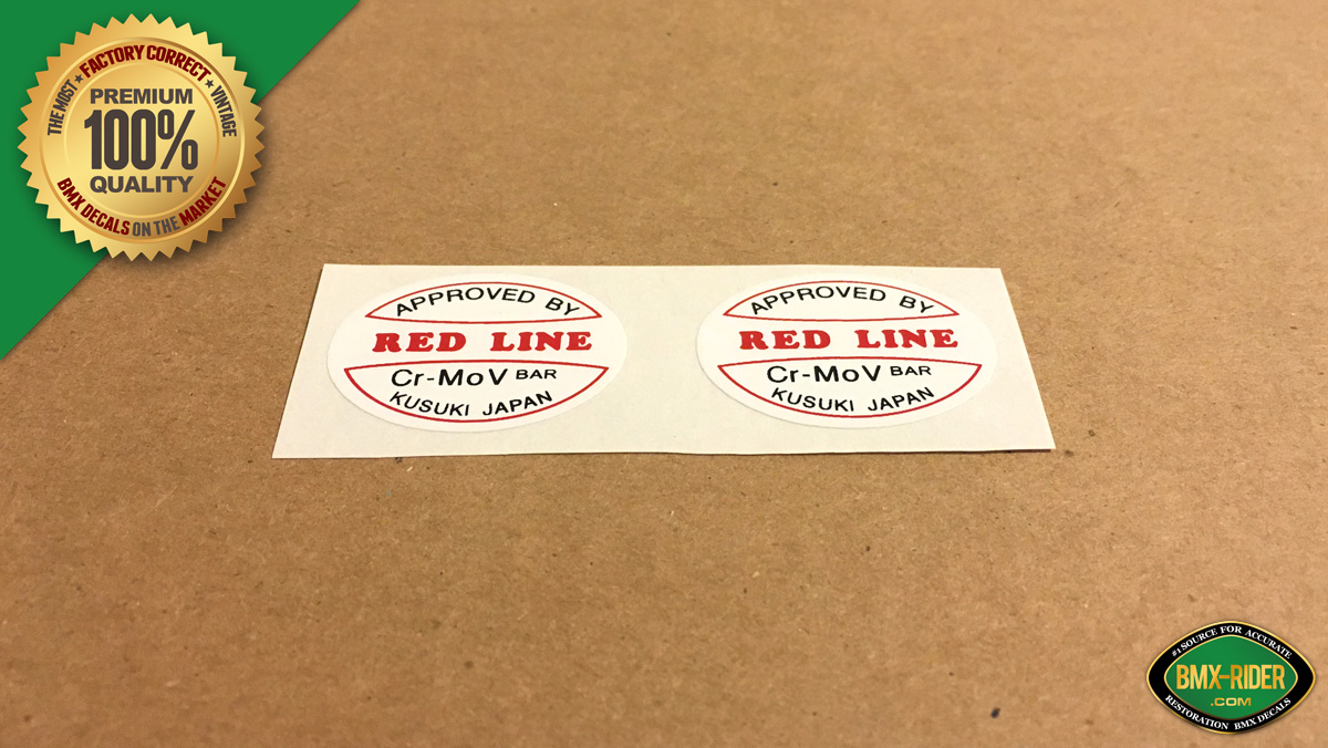 Factory Correct Redline V-Bar Handlebar Decal Stickers