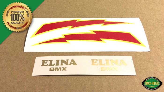 Factory Correct Elina BMX Lightning Bolt Seat Decal Stickers