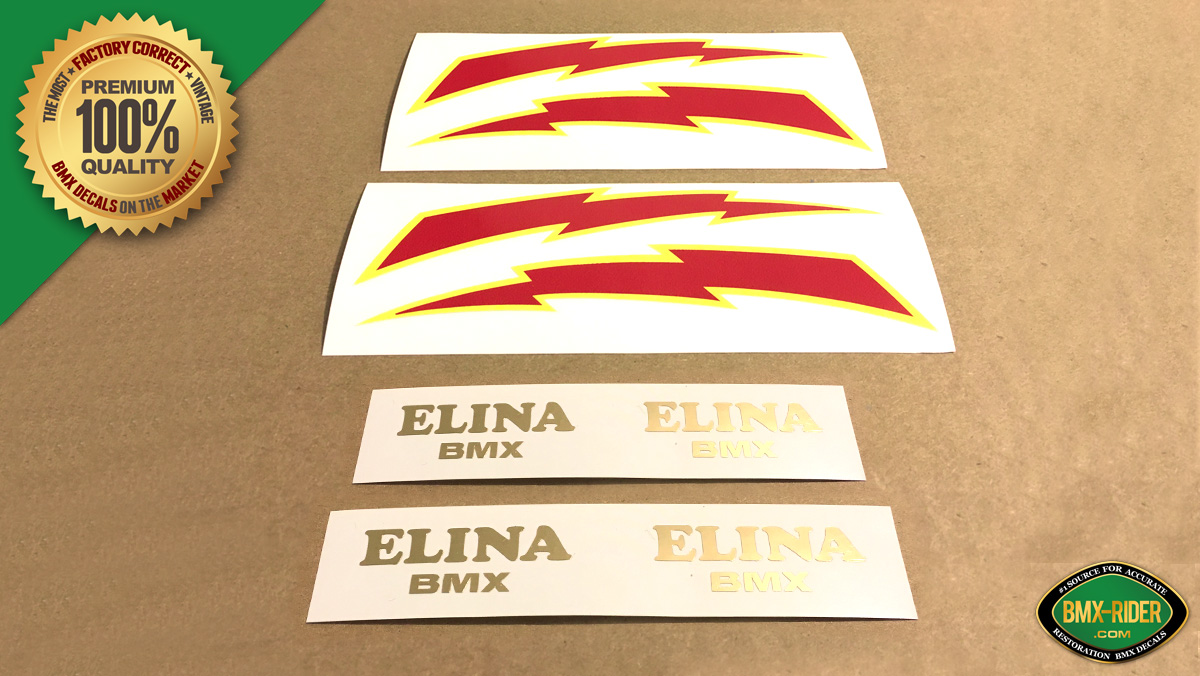 Factory Correct Elina BMX Lightning Bolt Seat Decal Stickers